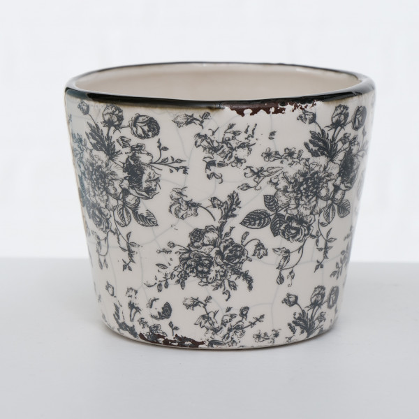 PFLANZTOPF ANNY FLORAL 9CM WEISS BOLTZE